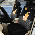 Cute Polka Dots Rilakkuma Universal Automobile Plush Velvet Car Seat Cover 18pcs Sets - Black