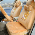 Cute Polka Dots Rilakkuma Universal Automobile Plush Velvet Car Seat Cover 18pcs Sets - Brown