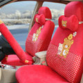 Cute Polka Dots Rilakkuma Universal Automobile Plush Velvet Car Seat Cover 18pcs Sets - Red