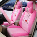 Cute Winnie the Pooh Universal Automobile Plush Velvet Car Seat Cover 18pcs Sets - Pink