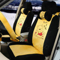 Cute Winnie the Pooh Universal Automobile Plush Velvet Car Seat Cover 18pcs Sets - Yellow+Black