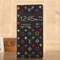 Hot Sale LV Louis Vuitton Floral Bracket Leather Flip Cases Holster Covers for iPhone 6 Plus - Black