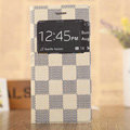 Hot Sale LV Louis Vuitton Lattice Bracket Leather Flip Cases Holster Covers for iPhone 6 - Beige