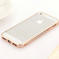 Hot sale Swarovski Bling Diamond Metal Bumper Frame Case Cover for iPhone 6 - Rose gold