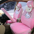 New Cute Polka Dots Hello Kitty Universal Automobile Plush Velvet Car Seat Cover 18pcs Sets - Pink