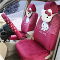 New Cute Polka Dots Hello Kitty Universal Automobile Plush Velvet Car Seat Cover 18pcs Sets - Rose