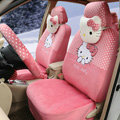 New Cute Polka Dots Hello Kitty Universal Automobile Plush Velvet Car Seat Cover 18pcs Sets - Watermelon