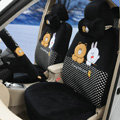 Polka Dots Cony & Brown Bear Universal Automobile Plush Velvet Car Seat Cover 18pcs Sets - Black