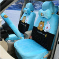 Polka Dots Cony & Brown Bear Universal Automobile Plush Velvet Car Seat Cover 18pcs Sets - Blue+Black
