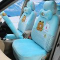 Polka Dots Cony & Brown Bear Universal Automobile Plush Velvet Car Seat Cover 18pcs Sets - Blue