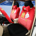 Polka Dots Cony & Brown Bear Universal Automobile Plush Velvet Car Seat Cover 18pcs Sets - Red+Black