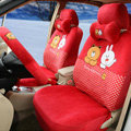 Polka Dots Cony & Brown Bear Universal Automobile Plush Velvet Car Seat Cover 18pcs Sets - Red