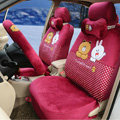 Polka Dots Cony & Brown Bear Universal Automobile Plush Velvet Car Seat Cover 18pcs Sets - Rose
