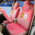 Polka Dots Cony & Brown Bear Universal Automobile Plush Velvet Car Seat Cover 18pcs Sets - Watermelon