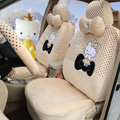 Pretty Polka Dots Hello Kitty Universal Automobile Plush Velvet Car Seat Cover 18pcs Sets - Beige