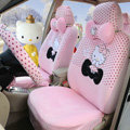Pretty Polka Dots Hello Kitty Universal Automobile Plush Velvet Car Seat Cover 18pcs Sets - Pink