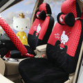 Pretty Polka Dots Hello Kitty Universal Automobile Plush Velvet Car Seat Cover 18pcs Sets - Red+Black