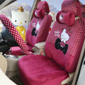 Pretty Polka Dots Hello Kitty Universal Automobile Plush Velvet Car Seat Cover 18pcs Sets - Rose