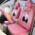 Pretty Polka Dots Hello Kitty Universal Automobile Plush Velvet Car Seat Cover 18pcs Sets - Watermelon