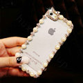 Pretty Swarovski Bling Diamond Pearl Bumper Frame Case Cover for iPhone 6 - White