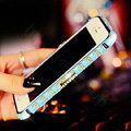 Pretty Swarovski Bling Rhinestone Metal Bumper Frame Case Cover for iPhone 6 Plus - Blue