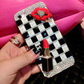 Pretty Swarovski Bling Rhinestone Red lips Case Classic Plaid Cover for iPhone 6
