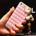 Unique Swarovski Bling Crystal Case Heart Tassels Cover for iPhone 6 - Pink