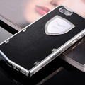 Vertu Swarovski Bling Metal Leather Cover Front Back Case for iPhone 5S - Black White