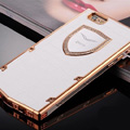 Vertu Swarovski Bling Metal Leather Cover Front Back Case for iPhone 5S - White Gold