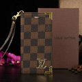 Classic LV Louis Vuitton Lattice Leather Flip Cases Holster Covers For iPhone 6S - Brown