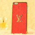 Classic LV Metal Flower Leather Cases Luxury Hard Back Covers Skin for iPhone 6S - Orange