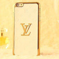 Classic LV Metal Flower Leather Cases Luxury Hard Back Covers Skin for iPhone 6S - White