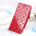 Classic LV folder Leather Cases Book Flip Holster Cover for iPhone 6S - Red