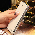 Luxury Swarovski Bling Bumper Frame Leather Flip Case Holster Cover for iPhone 6S - White