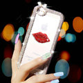 Pretty Swarovski Bling Crystal Red lips Bumper Frame Case Cover for iPhone 6S - White