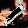 Pretty Swarovski Bling Rhinestone Metal Bumper Frame Case Cover for iPhone 6S - Blue