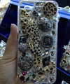 Swarovski crystal cases Bling Leopard diamond cover for iPhone 6S - Black