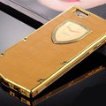 Vertu Swarovski Bling Metal Leather Cover Front Back Case for iPhone 6S - Gold Gold