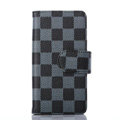 Cheapest LV Louis Vuitton Lattice Leather Flip Cases Holster Covers For iPhone 7 - Blue