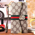 Classic Diamond Gucci High Quality Leather Flip Cases Holster Covers for iPhone 7 - Brown