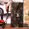 Classic LV Flower High Quality Leather Flip Cases Holster Covers for iPhone 7 - Brown
