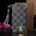Classic LV Louis Vuitton Lattice Leather Flip Cases Holster Covers For iPhone 7 - Blue