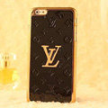 Classic LV Metal Flower Leather Cases Luxury Hard Back Covers Skin for iPhone 7 - Black