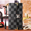 Classic LV Plaid High Quality Leather Flip Cases Holster Covers for iPhone 7 - Black