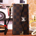 Classic LV Plaid High Quality Leather Flip Cases Holster Covers for iPhone 7 - Brown