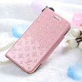Classic LV folder Leather Cases Book Flip Holster Cover for iPhone 7 - Pink