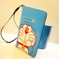 Doraemon Side Flip leather Case Holster Cover Skin for iPhone 7 - Blue