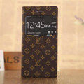 Hot Sale LV Louis Vuitton Floral Bracket Leather Flip Cases Holster Covers for iPhone 7 - Brown