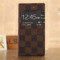 Hot Sale LV Louis Vuitton Lattice Bracket Leather Flip Cases Holster Covers for iPhone 7 - Brown
