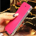 Luxury Swarovski Bling Bumper Frame Leather Flip Case Holster Cover for iPhone 7 - Rose